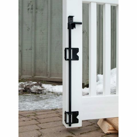 Snug Cottage Hardware Wrap Around Stainless Steel Cane Bolt/Drop Rod With Retainer for PVC and Vinyl Fence Gates
