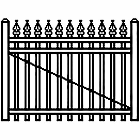 Jerith Industrial Aluminum Single Driveway Gate - Style #I111 w/Finials