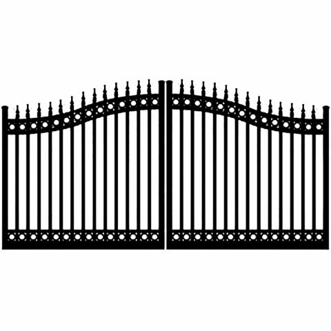Ideal #8630 Aluminum Double Swing Gate, with Finials and Top & Bottom Rings