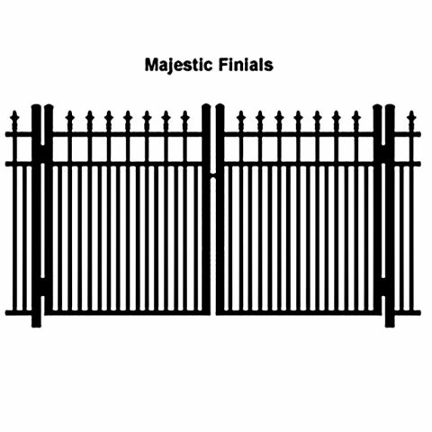 Ideal Finials #600MD Aluminum Double Swing Gate - Modified Double Picket