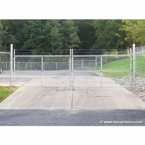 "Industrial Chain Link Fence Double Gates, All 2"" Galvanized HF40 Frame - With Barbed Wire"