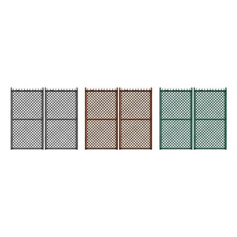 "Hoover Fence Industrial Chain Link Fence Double Gates, All 2"" Galvanized HF40 Frame - Black, Brown, and Green"