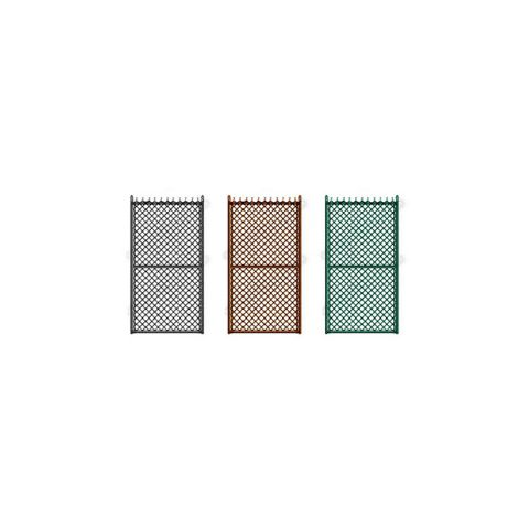 "Hoover Fence Industrial Chain Link Fence Single Gates, All 2"" Galvanized HF40 Frame - Black, Brown, and Green"
