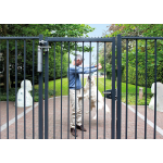 Locinox VERTICLOSE-STD Heavy-Duty Door or Gate Closer for 180° Swing Situations Installed on Gray Gate with Lock