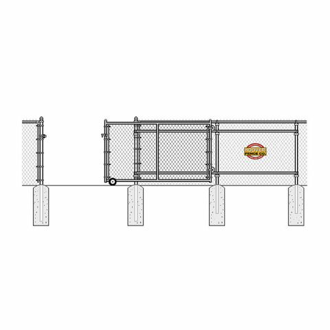 "Hoover Fence Commercial Chain Link Fence Rolling Gates, All 1-5/8"" Galvanized HF20 Frame"
