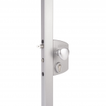 Locinox LEKQU4 Electrical Industrial Swing Gate Lock Installed on Post - Silver Finish