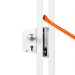 Locinox LEKQU4 Electrical Industrial Swing Gate Lock Installed With SHKL Security Keeper - White Finish