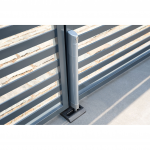 Locinox Electradrop Motorized Electrical Drop Bolt - Silver Finish Installed on Silver Metal Gate