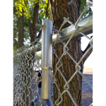 Hoover Fence Company's HFC-GRUNT - The Grunt - Chain Link Fence Lift Tool In Use - Outside of Fence