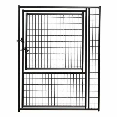 Jewett-Cameron Lucky Dog Black Welded Wire Kennel Panels with Gate in Gate - 6' High