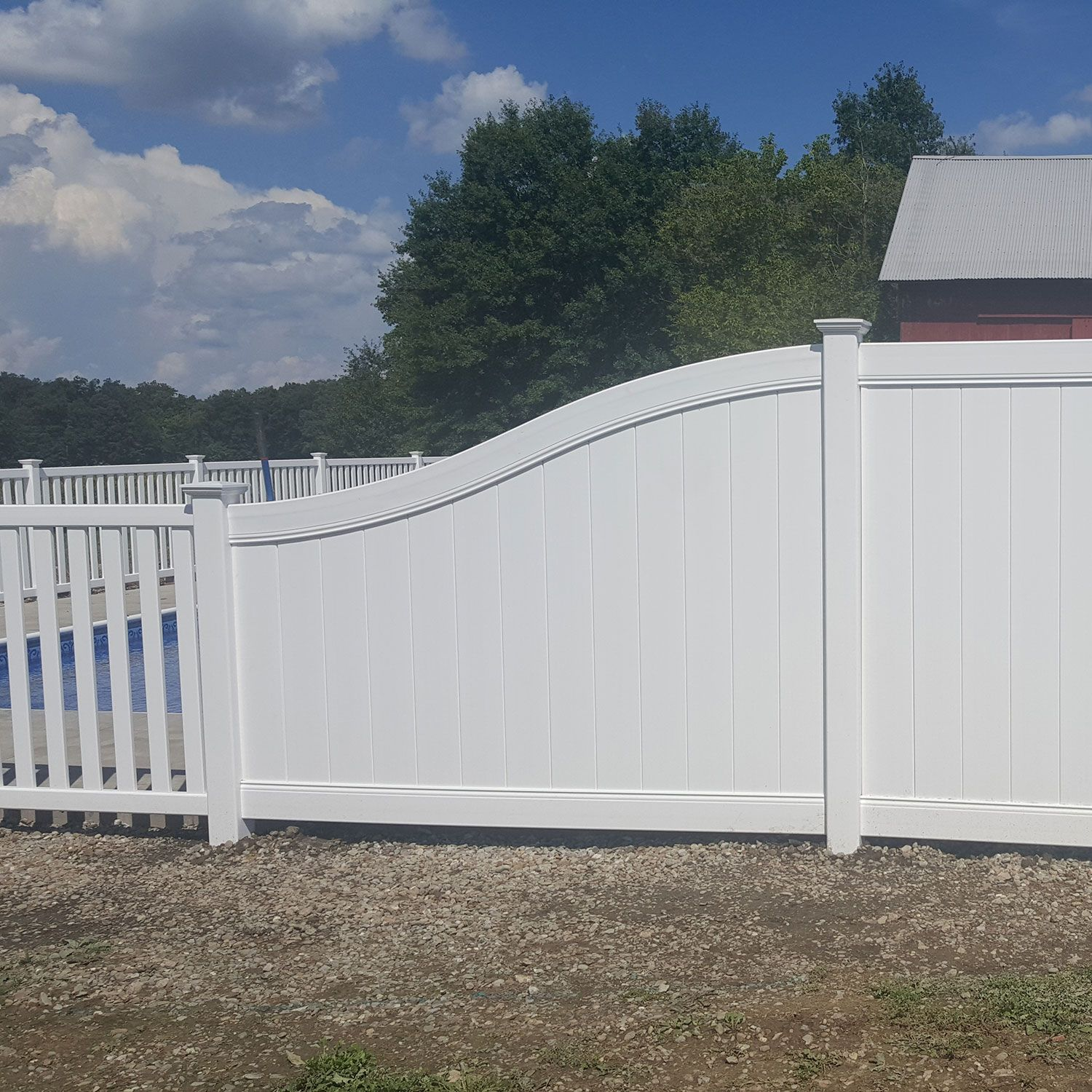 Bufftech Chesterfield Vinyl Fence Sections - S-Curve Top Rail