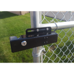 FM144 Automatic Electric Gate Lock Installed on Chain Link Gate