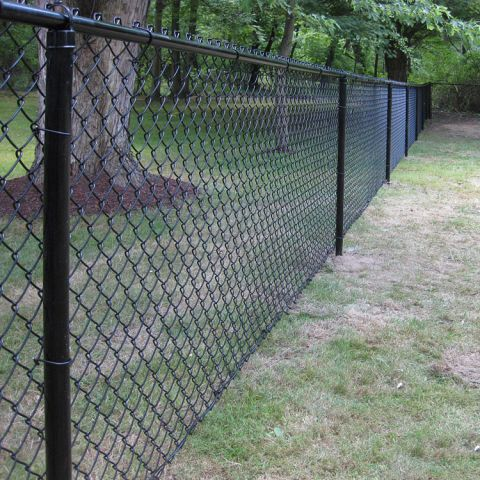 Hoover Fence Colored Chain Link Fence Kit - Includes All Parts - Choice of Black, Brown, or Green