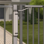 Locinox Verticlose-2 Installed on 90° Swing Gate - Lifestyle
