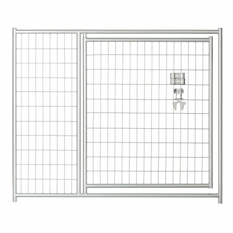 Jewett-Cameron Lucky Dog Silver Welded Wire Kennel Panels with Gate