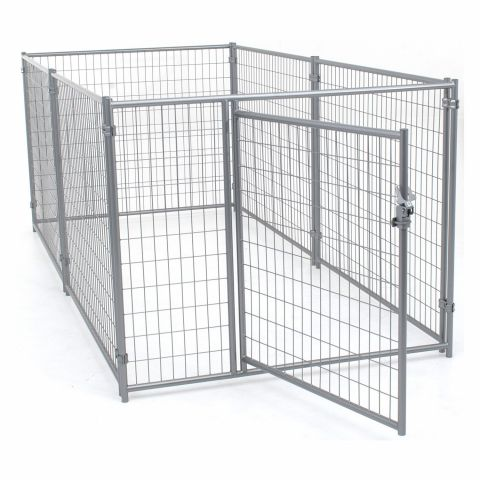 Jewett-Cameron Lucky Dog Silver Welded Wire Kennel Panel Enclosure Kits