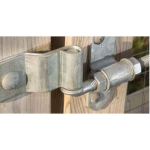 Snug Cottage Hardware 8305 Heavy Duty Cranked Strap Hinge with 8256 Mounting Plate Detail - Overhead Face