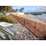 Wood Snow Fence Installed On Beach For Use as Sand Fence