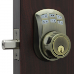 Lockey USA Slim Line Electronic and Mechanical Keyless Deadbolt Lock - Antique Brass (SL910-AB) - Outside Portion