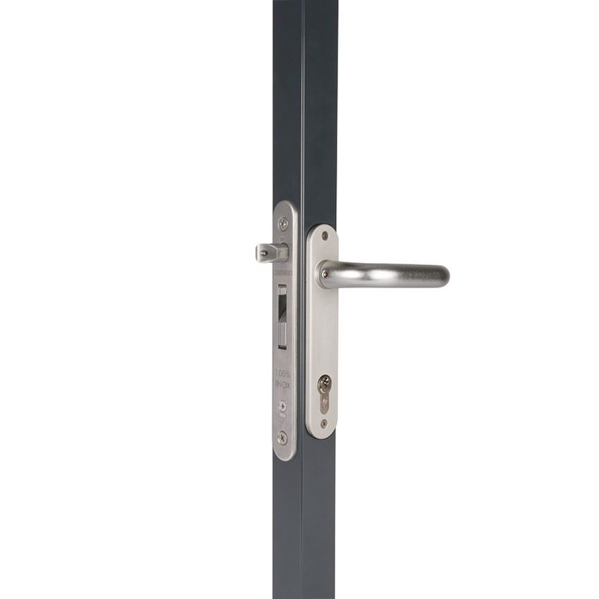 Locinox FortyLock Stainless Steel Mortise Lock Kits - Includes Lock, Handles, Covers, Strike, and Cylinder