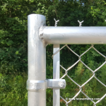 Aluminum Chain Link Swing Gate Corner Detail - Back View