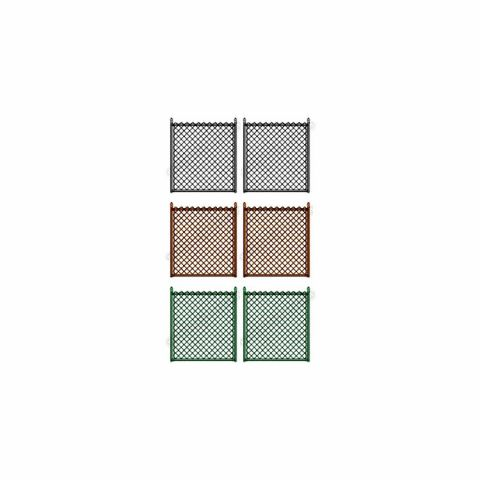 "Hoover Fence Residential Chain Link Fence Double Swing Gate - All 1-3/8"" Round Frame, 9ga. Fabric - Black, Brown, and Green"