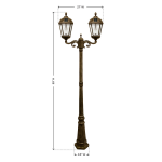 Gama Sonic Royal Bulb Double Solar Lamp with Post - Uses GS Solar LED Light Bulb - Weathered Bronze - Dimensions