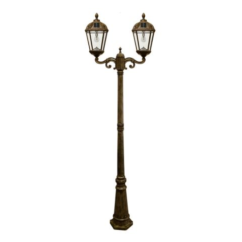 Gama Sonic Royal Bulb Double Solar Lamp with Post - Uses GS Solar LED Light Bulb - Weathered Bronze
