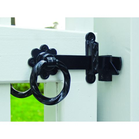 Snug Cottage Hardware Twisted Ring Latch - Set-Back Mount for Wood Gates - Includes XL Gate Stop