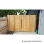 DAC-4090 Installed on Steel Framed Wood Gates - Cockeye BBQ - Gate Closed - Outside