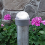 Classy Caps Summit Solar Lighting Post Caps for Round Chain Link Fence Posts - Silver (CC-CH2233S) - On Post