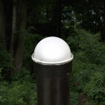 Classy Caps Summit Solar Lighting Post Caps for Round Chain Link Fence Posts - Black (CC-CH2233B) - Lit Up on Post