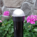 Classy Caps Summit Solar Lighting Post Caps for Round Chain Link Fence Posts - Black (CC-CH2233B) - On Post