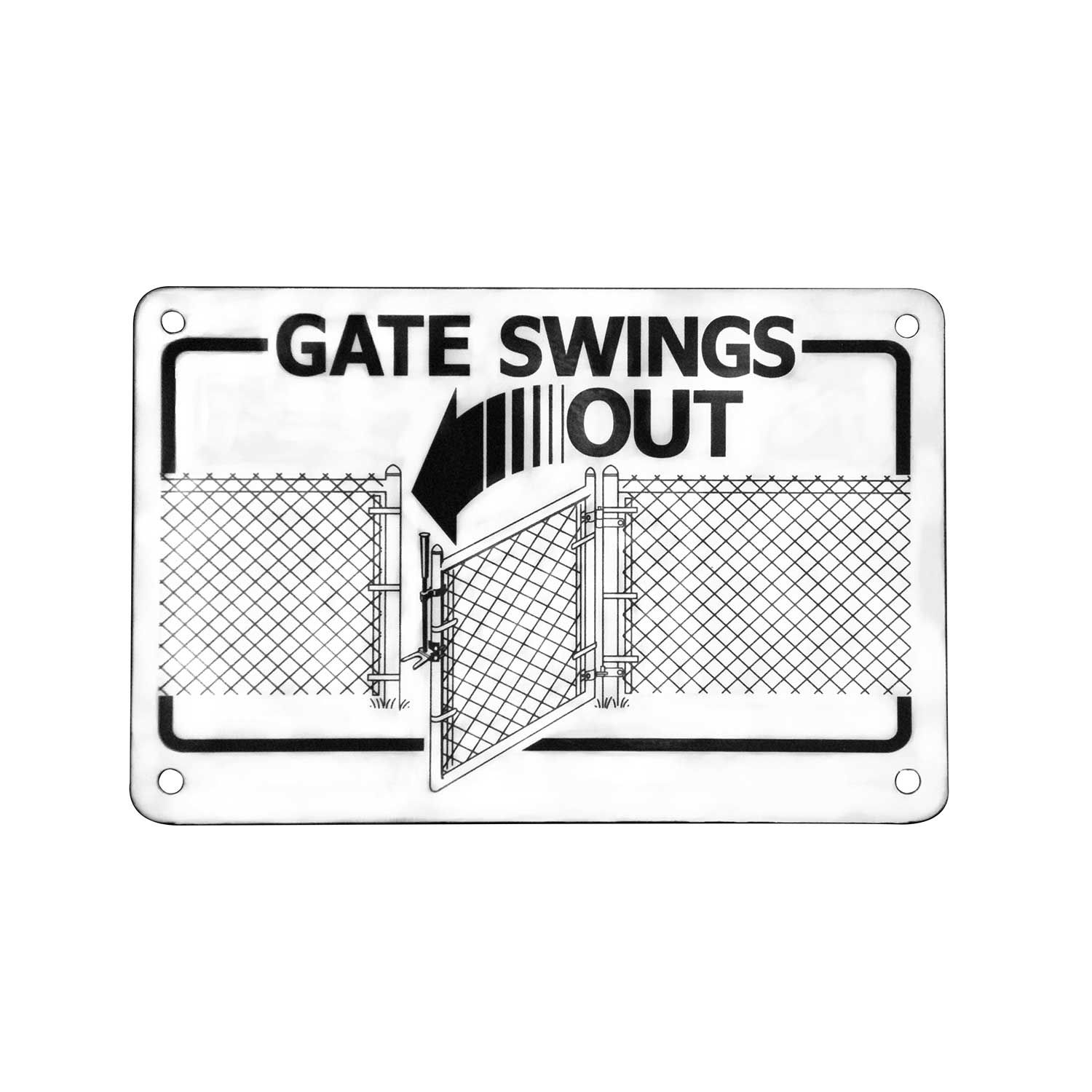 "DAC Industries ""Gate Swings Out"" Sign for One-Way Gravity Hinges"