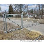 Residential Chain Link Fence Cantilever Gate Installed - Galvanized