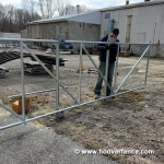 Residential Chain Link Fence Cantilever Gate Installed with MINI-ROLLER-NYLON