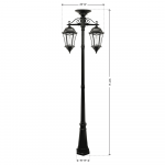 Gama Sonic Victorian Bulb – Double Downward Hanging Solar Lamp Post (GS-94B-CD) (94BC002)