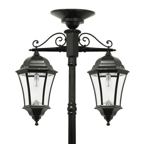 Gama Sonic Victorian Bulb – Double Downward Hanging Solar Lamp Post (GS-94B-CD)