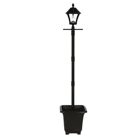 Gama Sonic Baytown Bulb Solar Lamp Post with EZ-Anchor and Planter (GS-106B-PLSG)