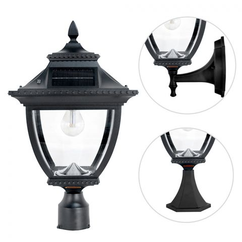 "Gama Sonic Pagoda Bulb Solar Lamp – Wall/Pier/3"" Fitter Mount (GS-104B-FPW)"