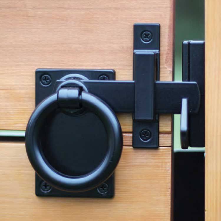 Snug Cottage Hardware Contemporary Ring Gate Latch - Setback Mount with Gate Stop - Black