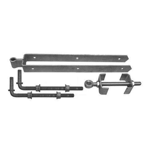 "Snug Cottage Hardware Heavy Duty Central Eye Double Strap Hinge Hardware Sets - 12"" Pins - Between Post Installations"