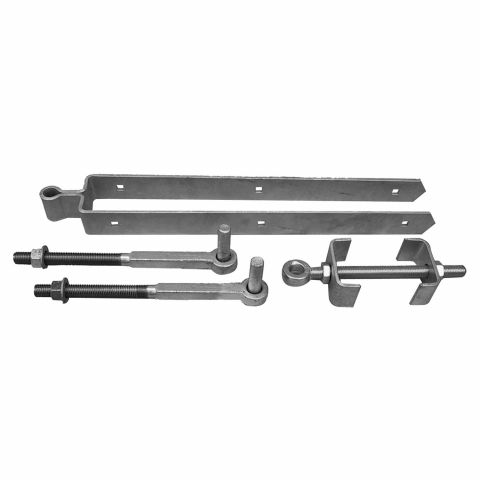 "Snug Cottage Hardware Heavy Duty Central Eye Double Strap Hinge Hardware Sets - 13"" Pins - Behind Post Installations"