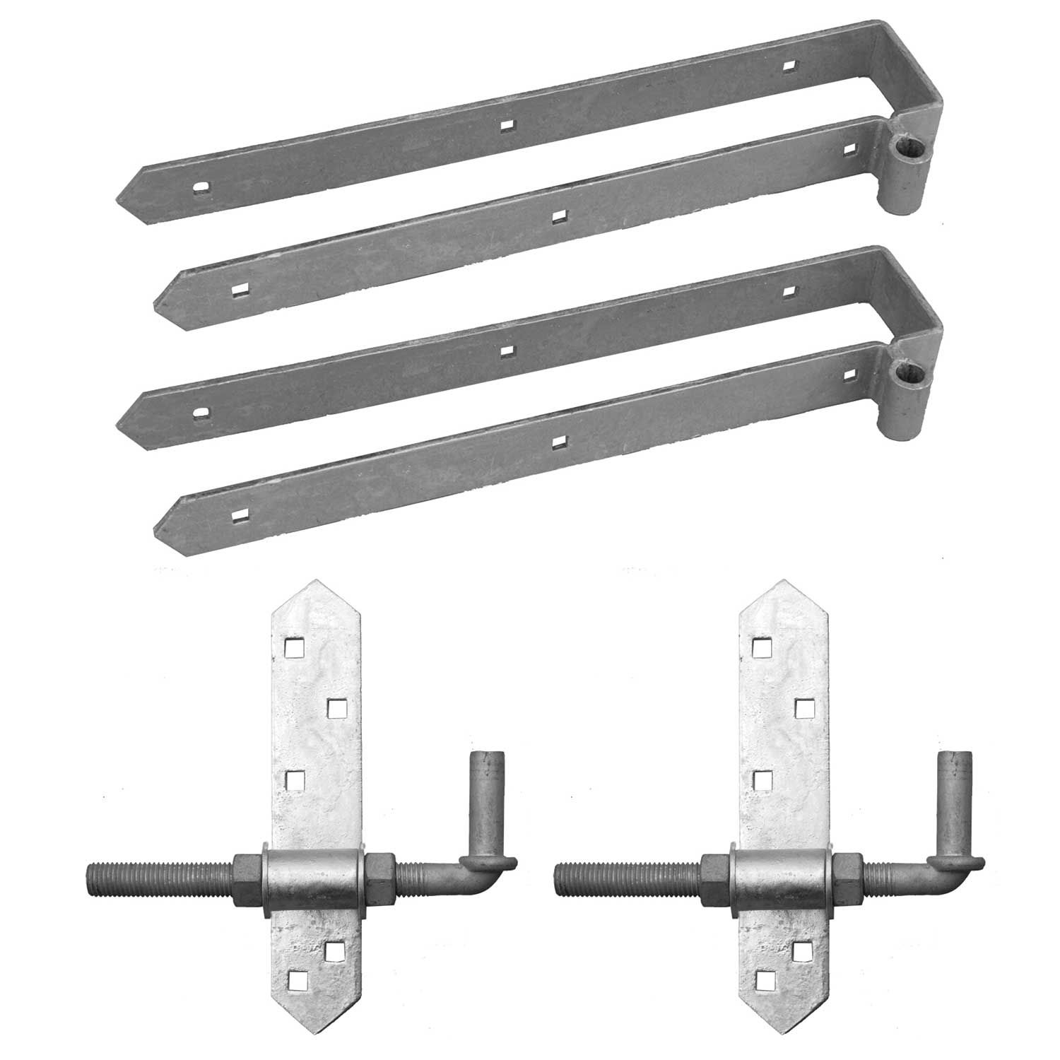 "Snug Cottage Hardware Heavy Duty Rear Eye Double Strap Hinge Hardware Sets - 3"" Thick Gates - Includes 8"" Adjustable Pins"