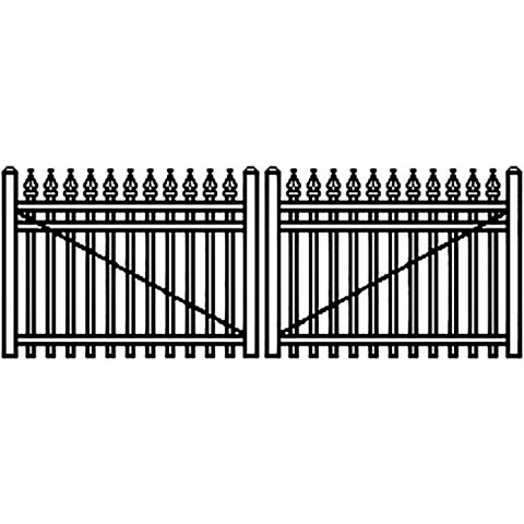 Jerith Industrial Aluminum Double Driveway Gate - Style #I111 w/Finials