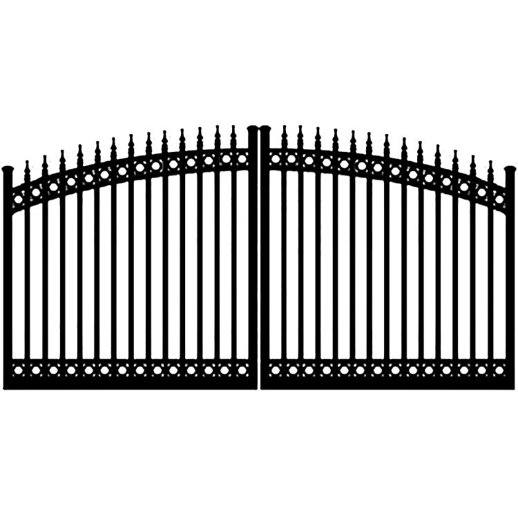 Ideal #8610 Aluminum Double Swing Estate Gate, with Finials and Top & Bottom Rings