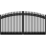 Ideal #8610 Aluminum Double Swing Estate Gate, with Finials and Top & Bottom Rings (IXE-8610-RTB)