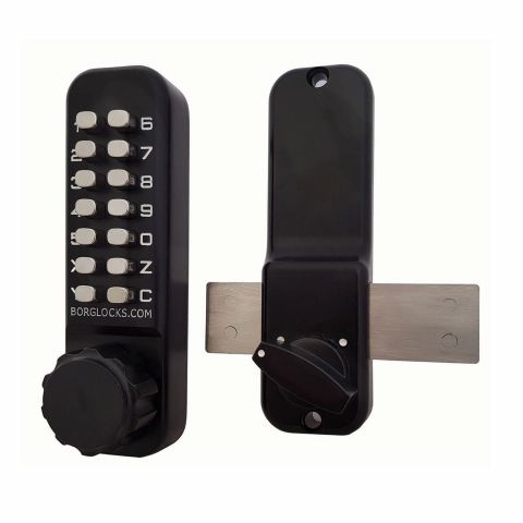 Borglocks Vertical Keypad Lateral Action Combination Dead Bolt Lock for Gates or Doors
