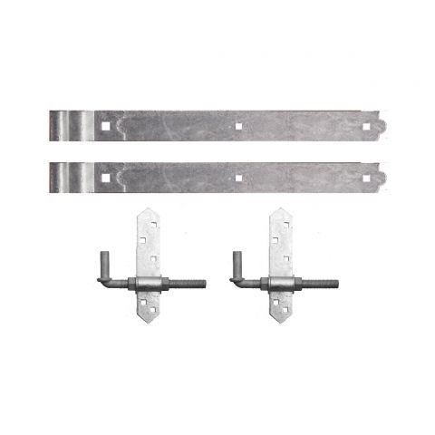 "Snug Cottage Hardware Heavy Duty Cranked Strap Hinge Hardware Sets - Includes 8"" Adjustable Pins"