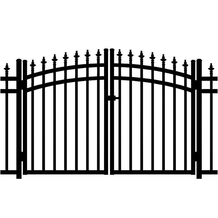 Jerith Kensington w/Finials Aluminum Rainbow Double Gate